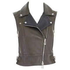 BELSTAFF khaki green black leather silver hardware biker vest FR36 US2 XS