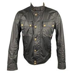 BELSTAFF Racemaser 1981 Size 38 Black Coated Cotton Zip & Snaps Jacket