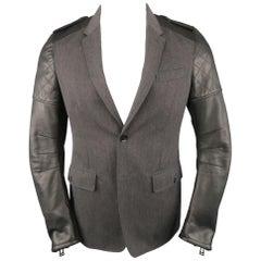 BELSTAFF S Grey Wool & Black Leather Biker Sleeve Jacket  - Retail $1,995.00