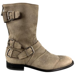 BELSTAFF Size 11 Taupe Distressed Suede Zip & Belt Ankle Boots