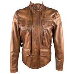 BELSTAFF Size 36 Brown Antique Leather High Collar Motorcycle Jacket