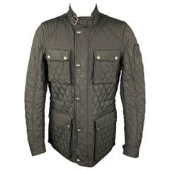 BELSTAFF Size 40 Black Quilted Polyester Zip & Snaps Jacket