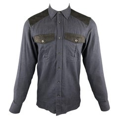 BELSTAFF Size S Navy Nailhead Cotton Button Up Long Sleeve Shirt