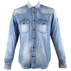 BELSTAFF Size XL Blue Washed Cotton / Viscose Western Long Sleeve Shirt