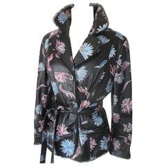 Belted Black Leather Floral Lace Jacket