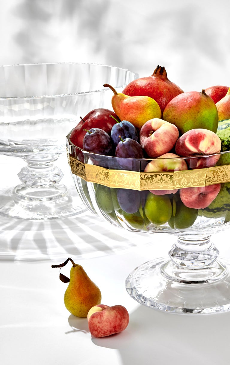 This unique cut-glass bowl is a true jewel created by the Moser glassmakers, cutters, engravers and other master craftsmen. It is modelled on a Baroque table collection used at the Viennese imperial court during the reign of Maria Theresa. In