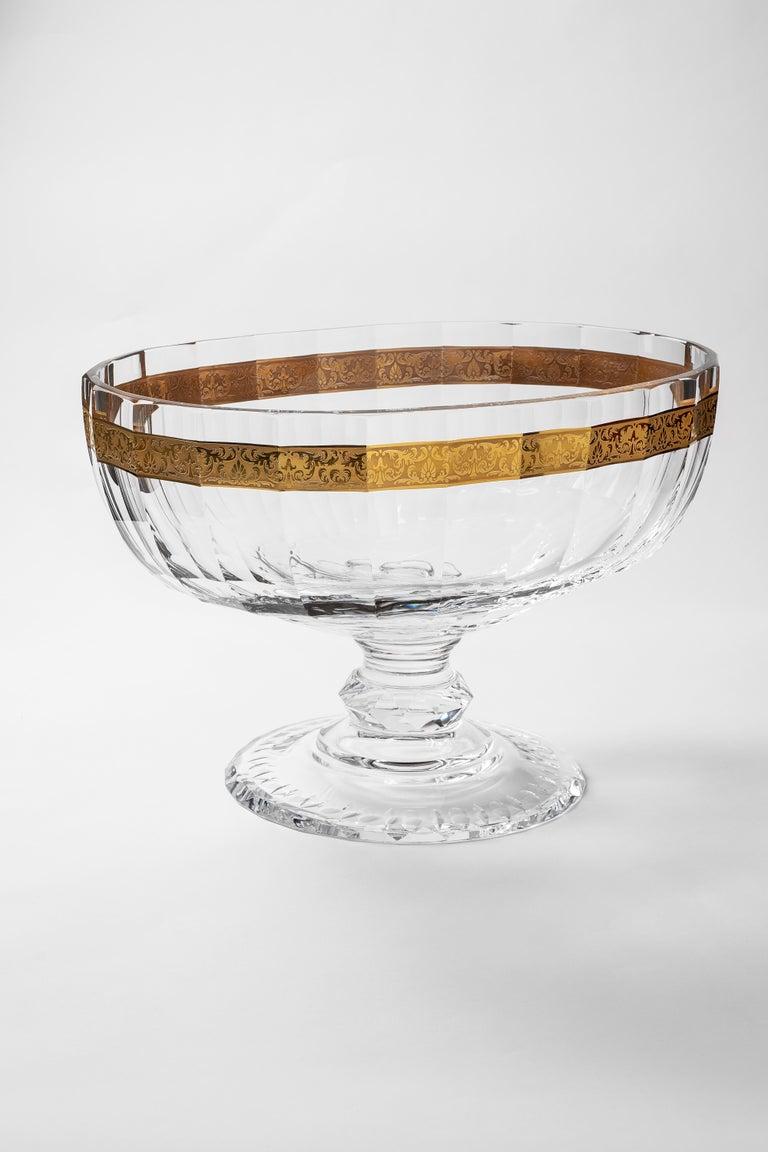 Baroque Belvedere Crystal Bowl with 24-Karat Gold Flowers Decor For Sale