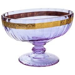 Belvedere Crystal Bowl with 24-Karat Gold Flowers Decor Purple 'Alex'