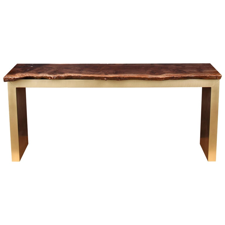 """Belvedere"" Live Edge Console in Brass and Smoked Walnut by Studio Roeper For Sale"