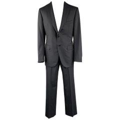 BELVEST Size 42 Long Black Stripe Wool Notch Lapel Suit