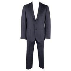 BELVEST Size 42 Navy Woven Wool Notch Lapel Suit