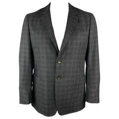 BELVEST Size 44 Charcoal Plaid Wool Notch Lapel Patch Pockets Sport Coat