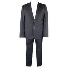 BELVEST Size 44 Navy Plaid Wool Notch Lape Suit