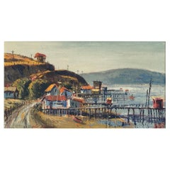 """Ben Abril """"Tomales Bay California"""", Impressionist Landscape Painting, 1960s"""