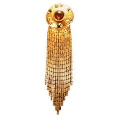 Ben Amun Goldtone & Faceted Glass Brooch