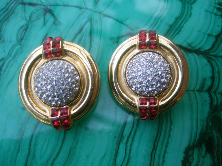 70cb55171 Ben Amun Large Crystal Encrusted Art Deco Style Clip Earrings, circa 1980s  In Good Condition