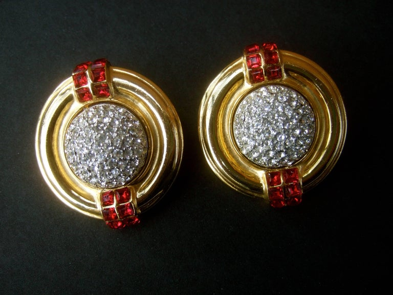 c65b52769 Ben Amun Large Crystal Encrusted Art Deco Style Clip Earrings, circa 1980s  For Sale 2