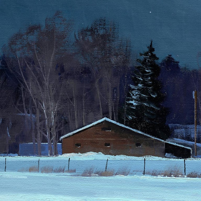 Ben Bauer, Grand Barns at Night - Tonalist Painting by Ben Bauer