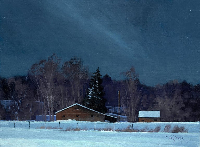 Ben Bauer, Grand Barns at Night - Painting by Ben Bauer