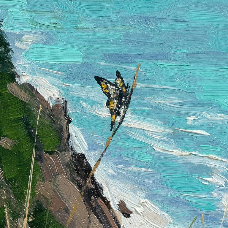 Ben Bauer, Oregon Coast 2018 - Blue Landscape Painting by Ben Bauer