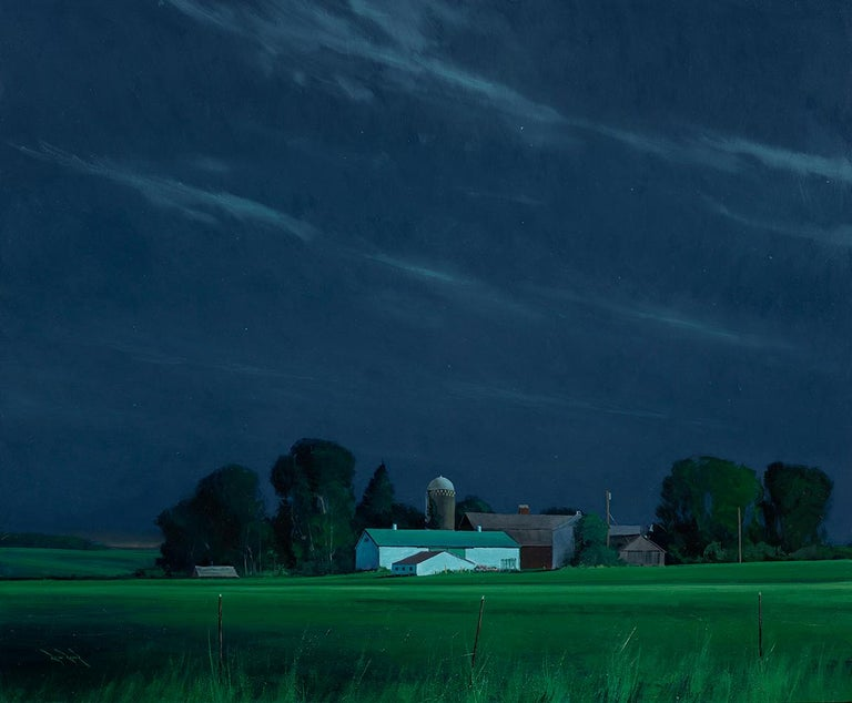 Ben Bauer,St. Croix County Farm by Moonlight 2019 - Painting by Ben Bauer