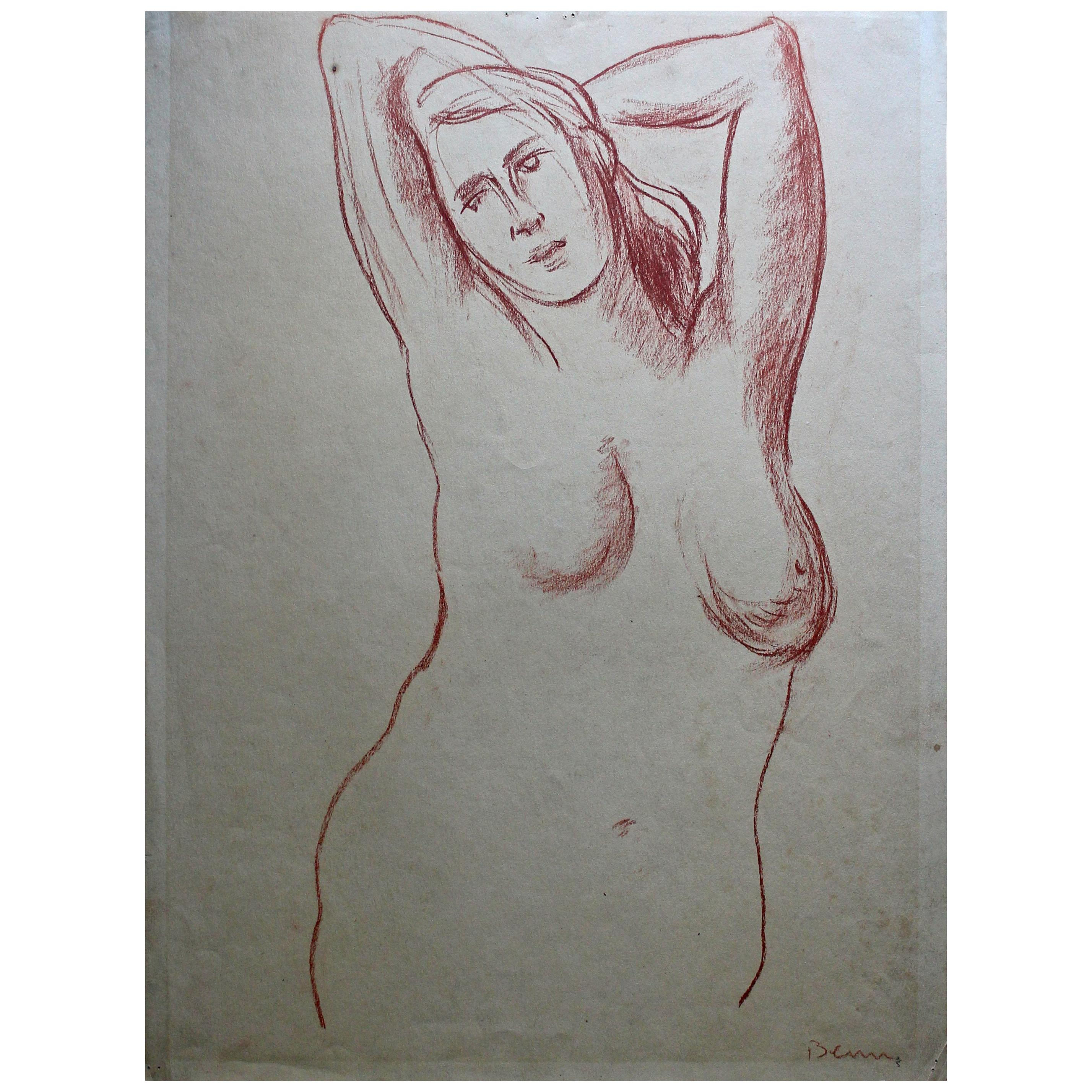 Ben Benn Nude Conte Crayon Drawing