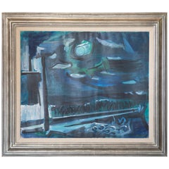 Ben Benn Signed Oil on Canvas Moon at Sag Harbor New York, 1961