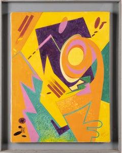 Vintage Mid Century Modern Geometric Abstract Pop Art Original Oil Painting