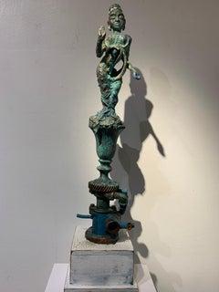 Sea Goddess, metal, wood, acrylic paint sculpture