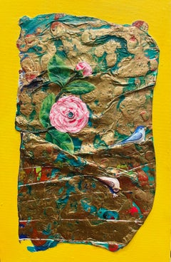 Fusion, acrylic and mixed media painting, yellow, green, gold, birds