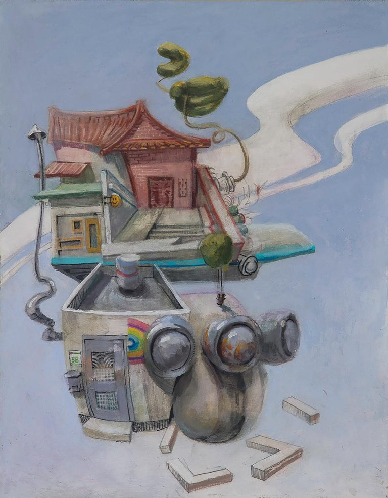 Benjamin Duke Figurative Painting - Hyperobject, Surreal Architectural Landscape, Blue Sky & Clouds, Oil on Panel
