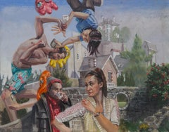 Looking After People, Surreal Landscape and Figurative Painting on Panel