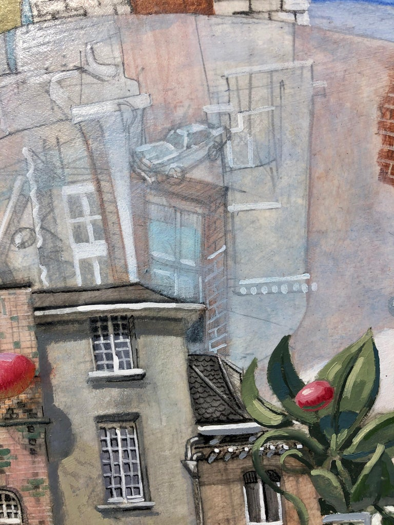 Lost in Dinard, Surreal Architectural Landscape with Two Figures by Ben Duke - Contemporary Painting by Benjamin Duke
