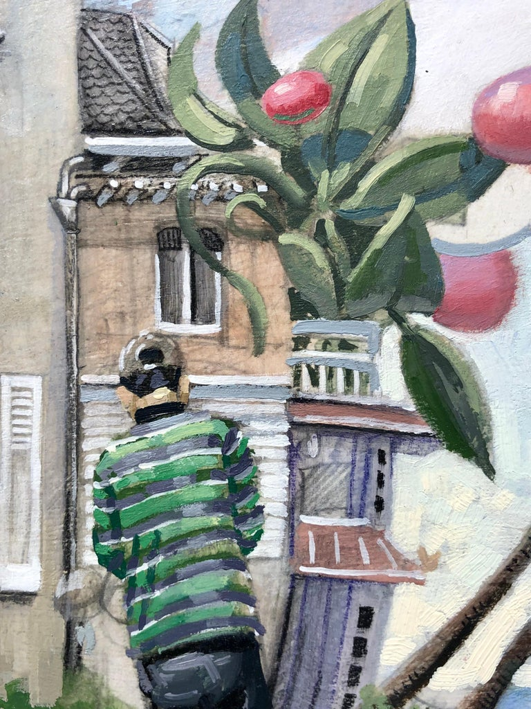 This small surreal landscape shows a line of row houses that are exaggerated and seemingly floating off the panel on which they are painted along with what seem to be seeds from the over sized plant.   The two figures depicted are central to the