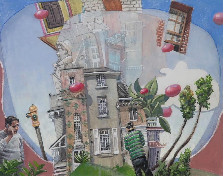 Benjamin Duke Figurative Painting - Lost in Dinard, Surreal Architectural Landscape with Two Figures by Ben Duke