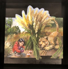 Trap #1,  Small Child and Tiger, Oil on Cut Out Panel in Black Float Framed