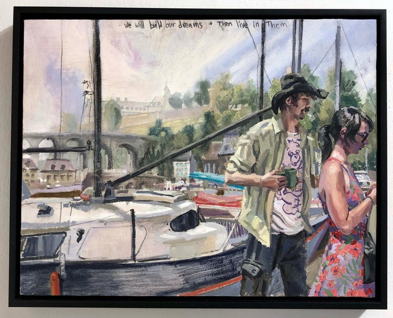 We Will Build Our Dreams and Then Live in Them #2, Two Figures & a Sailboat - Painting by Benjamin Duke