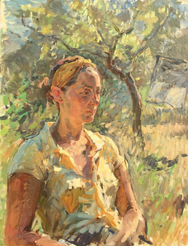 Ben Fenske Figurative Painting - Amy Outside