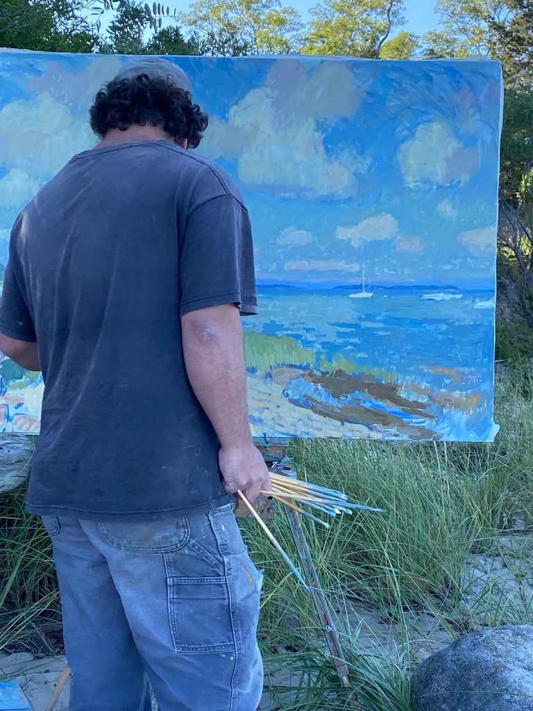 Clouds Over Secret Beach - Impressionist Painting by Ben Fenske