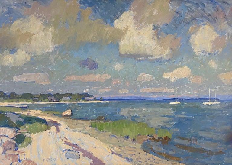 Ben Fenske Figurative Painting - Clouds Over Secret Beach