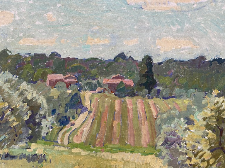 Flowering Olive Grove - Gray Landscape Painting by Ben Fenske