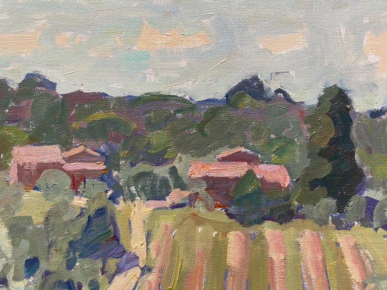 A large scale, horizontally oriented oil painting of the property surrounding Fenske's home in Tuscany. An important canvas exhibited in his 2021 solo show,
