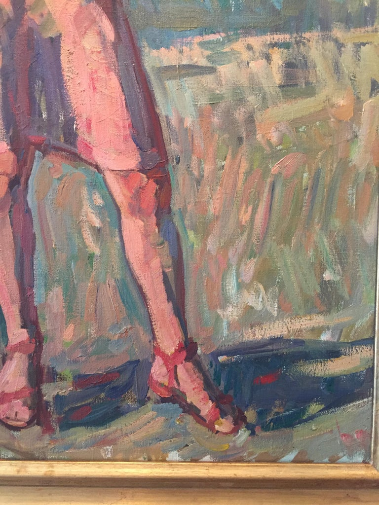 A stunning full-size portrait of a woman in a pink dress, straw hat, and red sandals. Although Fenske titles this work as only a sketch, we feel it's a truly mesmerizing and dynamic portrayal of a contemporary contrapposto. Fenske really is a true