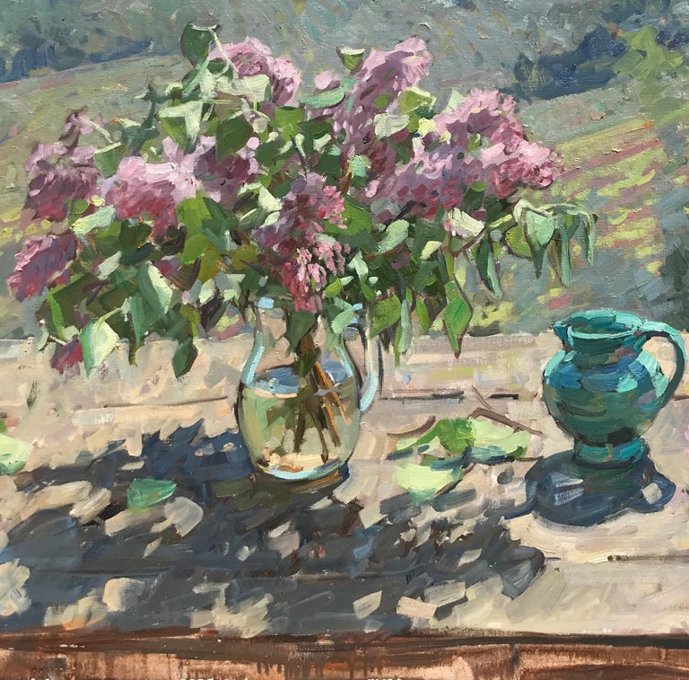 Lilacs and Vines - American Impressionist Painting by Ben Fenske