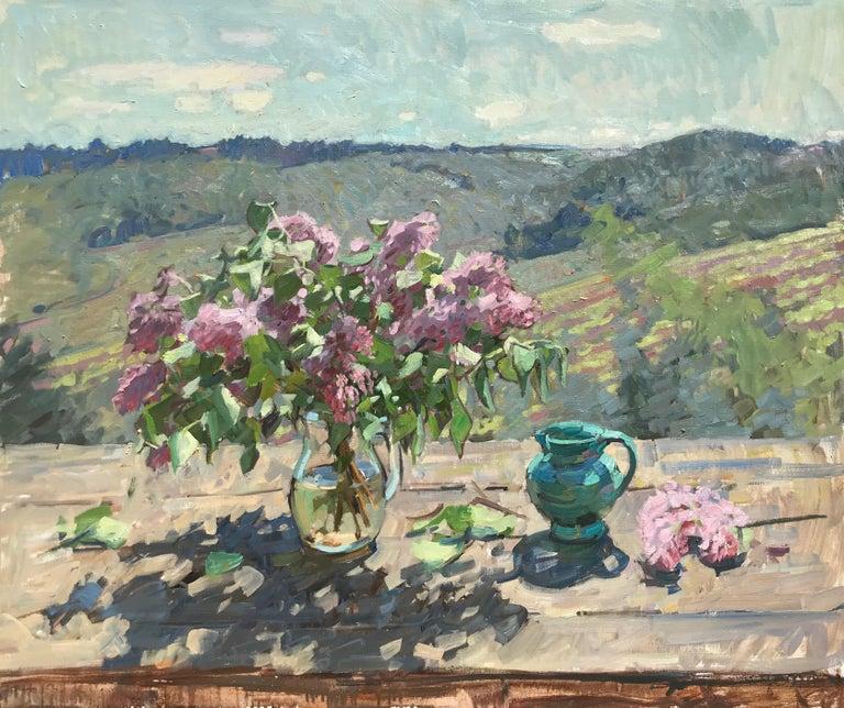 Ben Fenske Landscape Painting - Lilacs and Vines