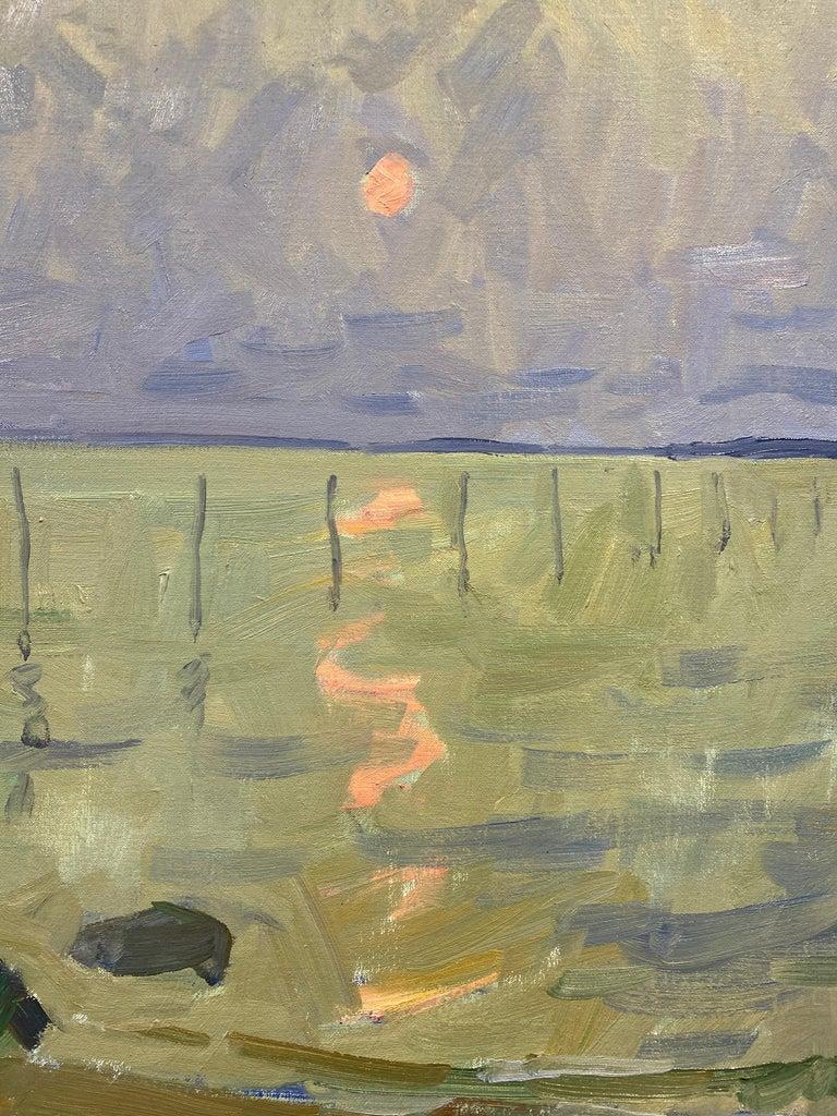 Long Beach Fishing Nets - Gray Landscape Painting by Ben Fenske