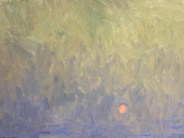 An oil painting of the bay at Sunset. A sandy foreground meets a pale green sea, reflecting the white overcast sky above. The heavy grey sky hazes the sun, into a faint orange spot, reflecting softly a string of light across the water. A diagonal of