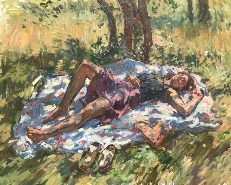 An oil painting of a woman laying under an olive tree in Tuscany. Painted from direct observation, en plein air.    Ben Fenske (b. 1978) although a native of Minnesota, and has been working and living in Sag Harbor, New York and Florence, Italy for