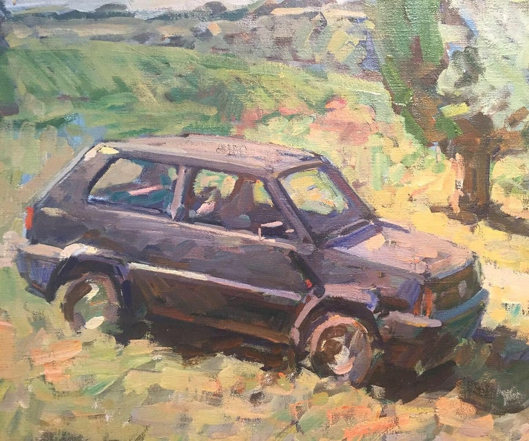 Parked Panda - American Impressionist Painting by Ben Fenske