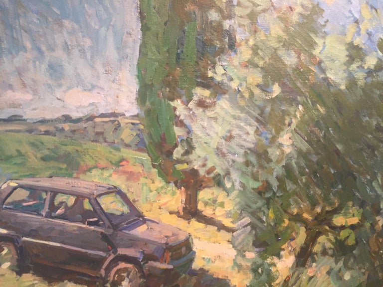 """""""Parked Panda"""" was painted en plein air in Tuscany, Italy. A classic European car, a Fiat to be exact, is parked on the grass on a bright sunny day.    Ben Fenske (b. 1978) although a native of Minnesota, and has been working and living in Sag"""